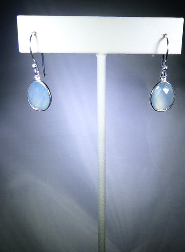 Oval Drop Earring- Light Blue, Silver Plating
