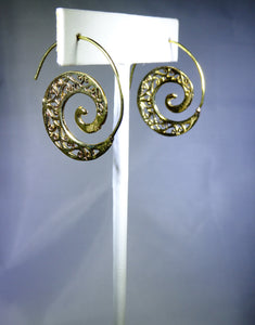 Spiral Vines Earring, Gold