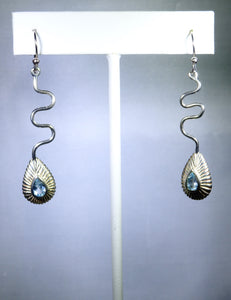 Sterling silver earring, looping shell design with aqua drop