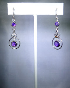 Sterling silver earring with purple drop