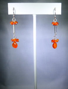 Sterling silver earring with orange drop