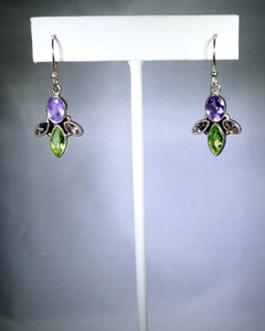Sterling silver earring, purple and green angel