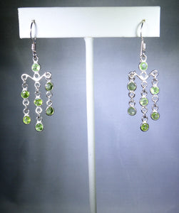 Sterling silver earring, green drops