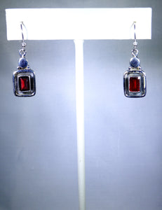 Sterling silver square earring with red stone