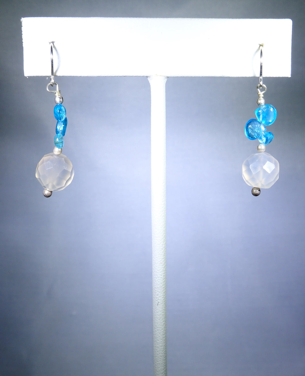 Sterling silver earring, sky blue and light pink
