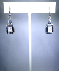 Sterling silver square earring, white stone