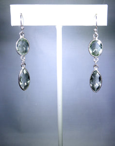 Sterling silver earring, double clear drops