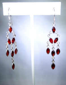 Sterling silver earring with branching garnet