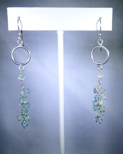 Sterling silver earring, hoop with pale blue drops