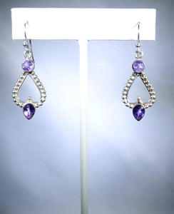 Sterling silver earring, light purple drop