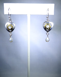 Sterling silver earring, delicate heart with pearl drop
