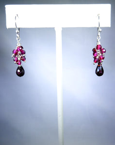 Sterling silver earring with pink cluster