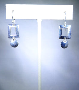 Sterling silver earring, delicate square and circle design