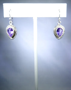 Sterling silver earring, light purple stone in silver drop