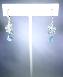 Sterling silver earring, light blue cluster with delicate drop