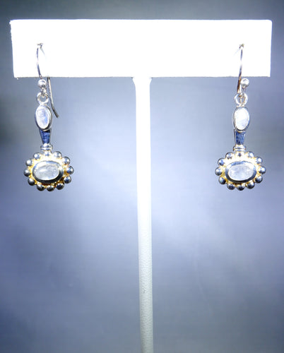 Sterling silver earring, moonstone floral design