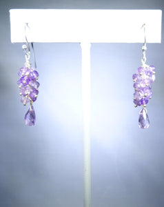 Sterling silver earring, light purple cluster with delicate drop