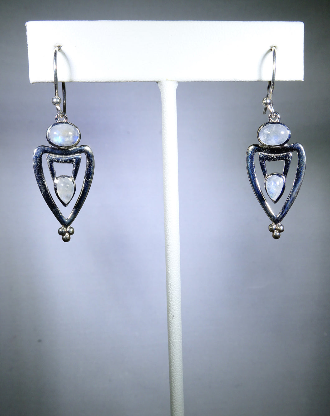 Sterling silver earring, moonstone triangular design