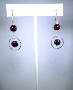 Sterling silver earring, red drops