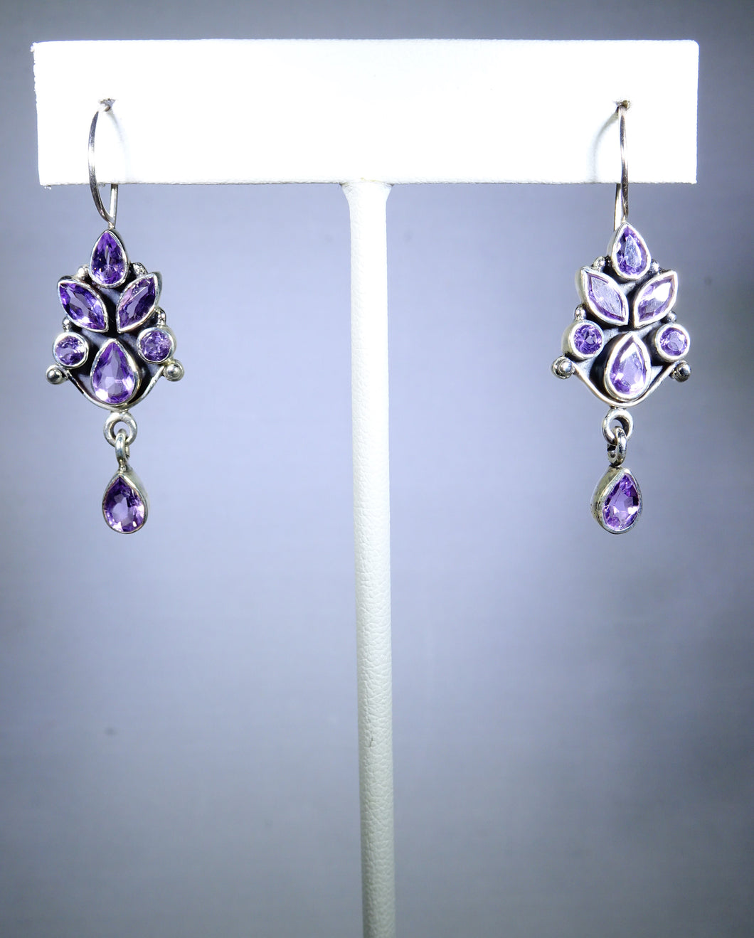 Sterling silver earring, purple tree design with delicate drop