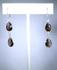 Sterling silver earring, double gray/brown drop