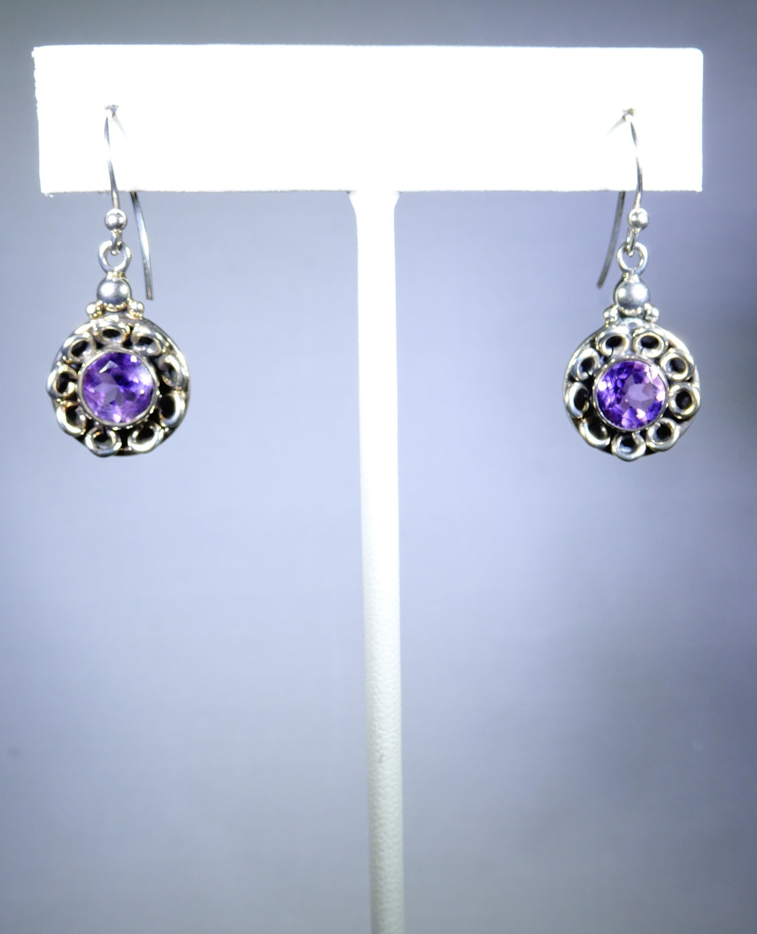 Sterling silver earring, purple floral design
