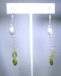 Sterling silver white and green drops