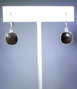 Sterling silver earring with gray/brown stone
