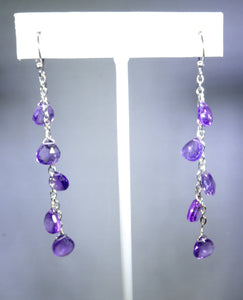 Sterling silver earring with purple drops