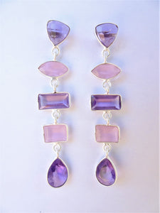 Amethyst and Rose Quartz Geometric Earrings