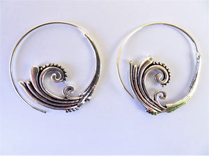 Silver Spiral Wave Earrings
