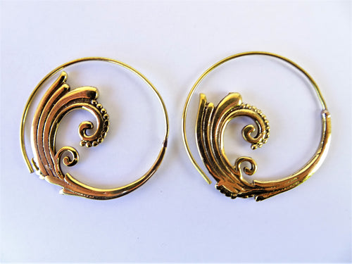 Gold Spiral Wave Earrings