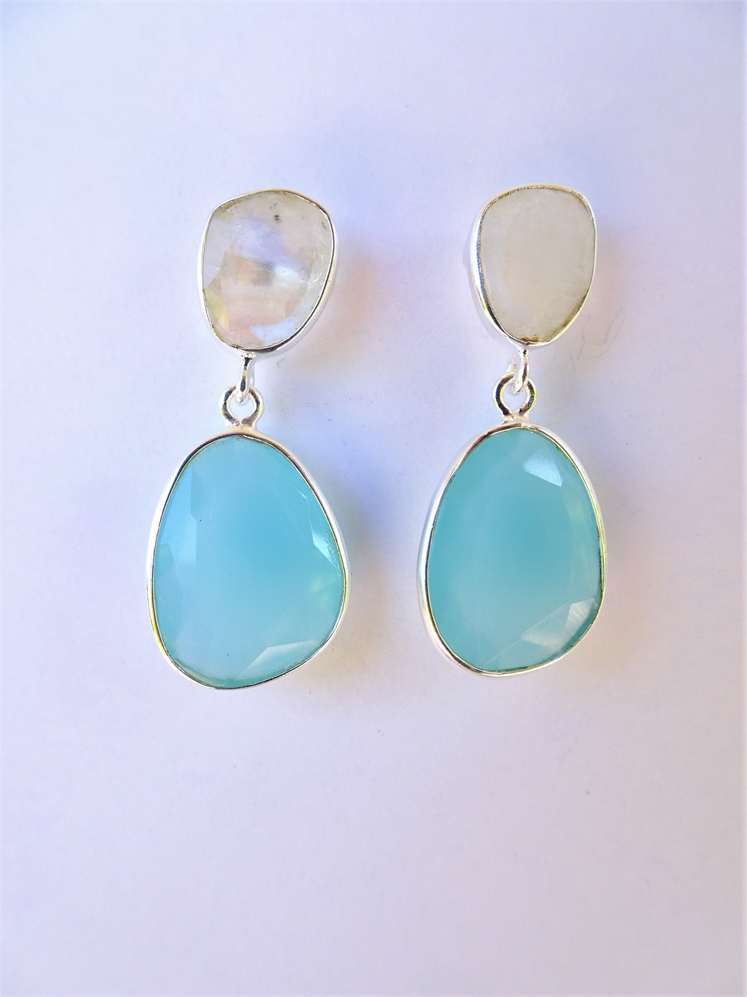 Chalcedony and Moonstone Double Drop Earrings