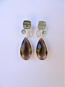 Smoky Quartz Drop Earrings with Gemstone Tops