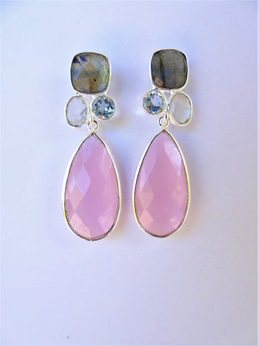 Rose Quartz Drop Earrings with Gemstone Tops