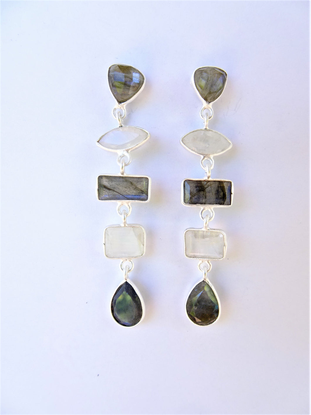 Labradorite and Moonstone Geometric Earrings