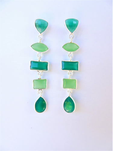Chalcedony and Peridot Geometric Earrings