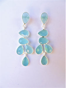 Aqua Chalcedony Leaf Drop Earrings