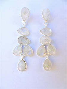 Rainbow Moonstone Leaf Drop Earrings