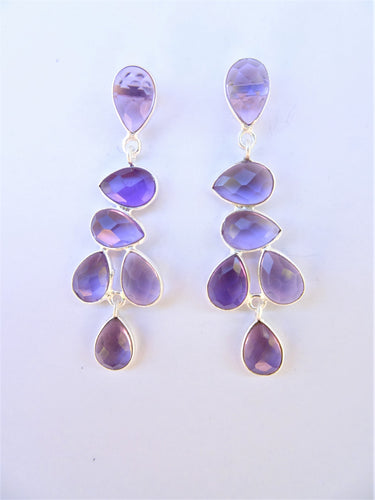 Amethyst Leaf Drop Earrings