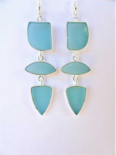 Aqua Chalcedony Geometric Earrings
