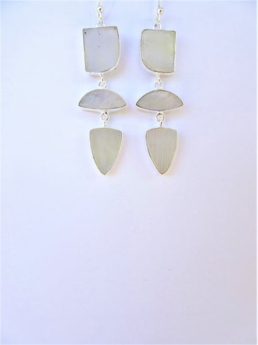 Rainbow Moonstone Geometric Earrings