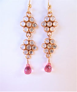 Flower Earrings with Pink Tourmaline