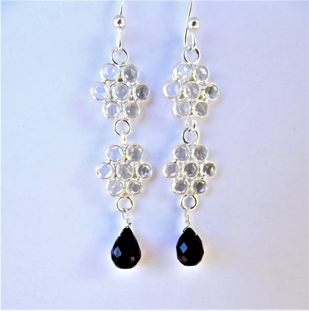 Flower Earrings with Onyx