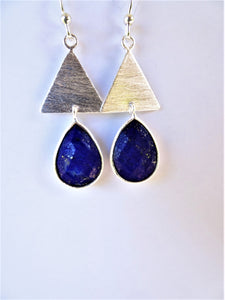 Lapis Triangle Drop Earrings