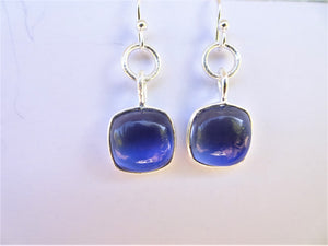 Navy Chalcedony Square Earrings
