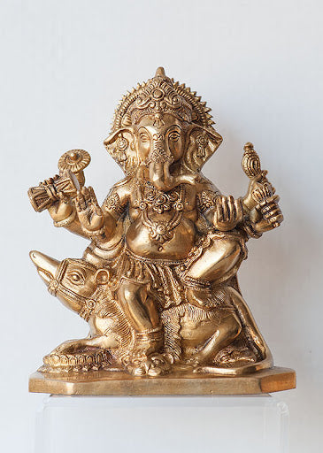 Ganesh Seated on Moushika - Large