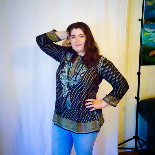 Black and Gray Silk Tunic