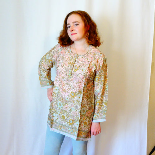 Tan and Pink Silk Tunic