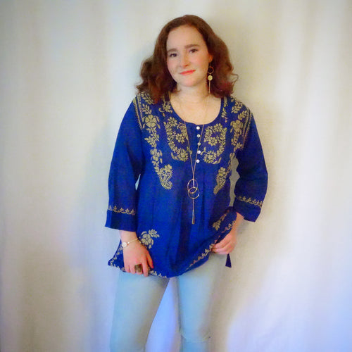 Blue and Gold Cotton Tunic